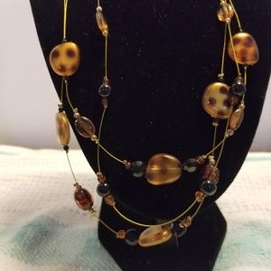 3 strand necklace  spotted  faux stones